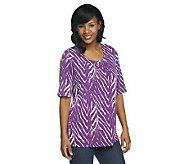 Susan Graver Liquid Knit Printed Top with Shirring Scoop Neckline - A199400
