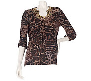 M by Marc Bouwer Animal Print Top with Embellishment - A209400