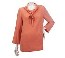 Linea by Louis Dell'Olio Pebbled Crepe Tunic with Pocket Detail