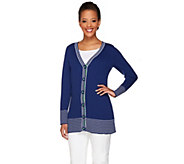 Denim & Co. Long Sleeve V-Neck Cardigan w/ Twill Tape - A230900