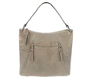 B. Makowsky Sun Washed Croco Embossed Leather Hobo Bag