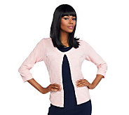 Joan Rivers 3/4 Sleeve Knit Cardigan with Faux Pearl Embellishments - A234400