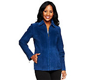 Dennis Basso Washable Suede Zip Front Jacket with Pockets - A234700