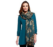 Susan Graver Liquid Knit V-Neck Tunic w/ 3/4 Sleeves and Jacquard Wrap - A236800