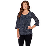 Susan Graver Liquid Knit 3/4 Bell Sleeve Top with Front Pleat Detail - A239300