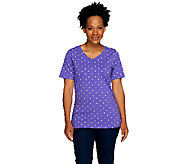 Denim & Co. Perfect Jersey Polka Dot Top with Side Shirring - A254300