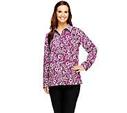 Denim & Co. Woven Floral Print Button Front Shirt - A256400