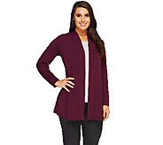 Susan Graver Liquid Knit Open Front Cardigan with Back Smocking - A258600
