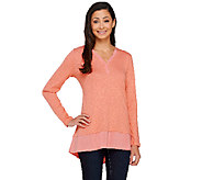 LOGO by Lori Goldstein Slub Knit Top with Twist V-neck Detail - A263300