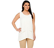 Susan Graver Liquid Knit U-Neck Tank with Sheer Chiffon Overlay - A265000