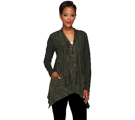 LOGO by Lori Goldstein Knit Cardigan with Faux Suede Details - A266500