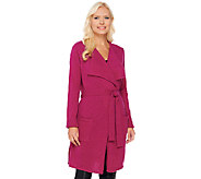 Isaac Mizrahi Live! 2-Ply Cashmere Open Front Belted Cardigan - A267700