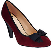 Isaac Mizrahi Live! Stacked Heel Suede Pumps with Bow - A269800