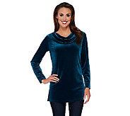 Susan Graver Stretch Velvet Long Sleeve Drape Neck Tunic - A270300