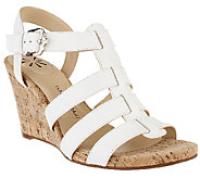 As Is Isaac Mizrahi Live! Adjustable Leather Wedge Sandals - A270800