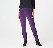 Quacker Factory Short Knit Corduroy Pull-On Slim Leg Pant - A270900