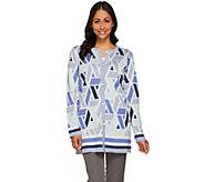Isaac Mizrahi Live! Geometric Jacquard Sweater Coat - A272600