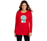 Bethany Mota Long Sleeve Snow Globe Holiday Sweatshirt - A273800