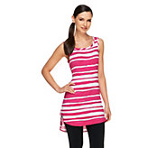 As Is LOGO by Lori Goldstein Striped Knit Tank with Curved Hem - A274000