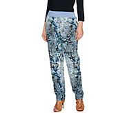 LOGO by Lori Goldstein Printed Challis Pants with Knit Waistband - A275000