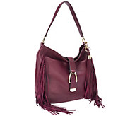 As Is G.I.L.I Leather Stirrup Hobo Bag with Fringe - A278400