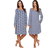 Carole Hochman Cotton Knit Floral & Stripe Sleepshirt 2-Pack - A279500