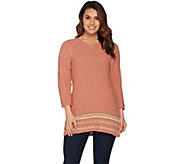 Studio by Denim & Co. V-neck Border Striped Tunic Sweater - A279900
