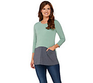 As Is LOGO by Lori Goldstein Heathered Color-Block Knit Top - A280200
