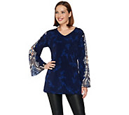 Attitudes by Renee Knit Top with Printed and Pleated Sleeves - A280900