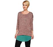 As Is LOGO by Lori Goldstein Twin Set Space Dye Knit Top w/ Shirttail Tank - A281900