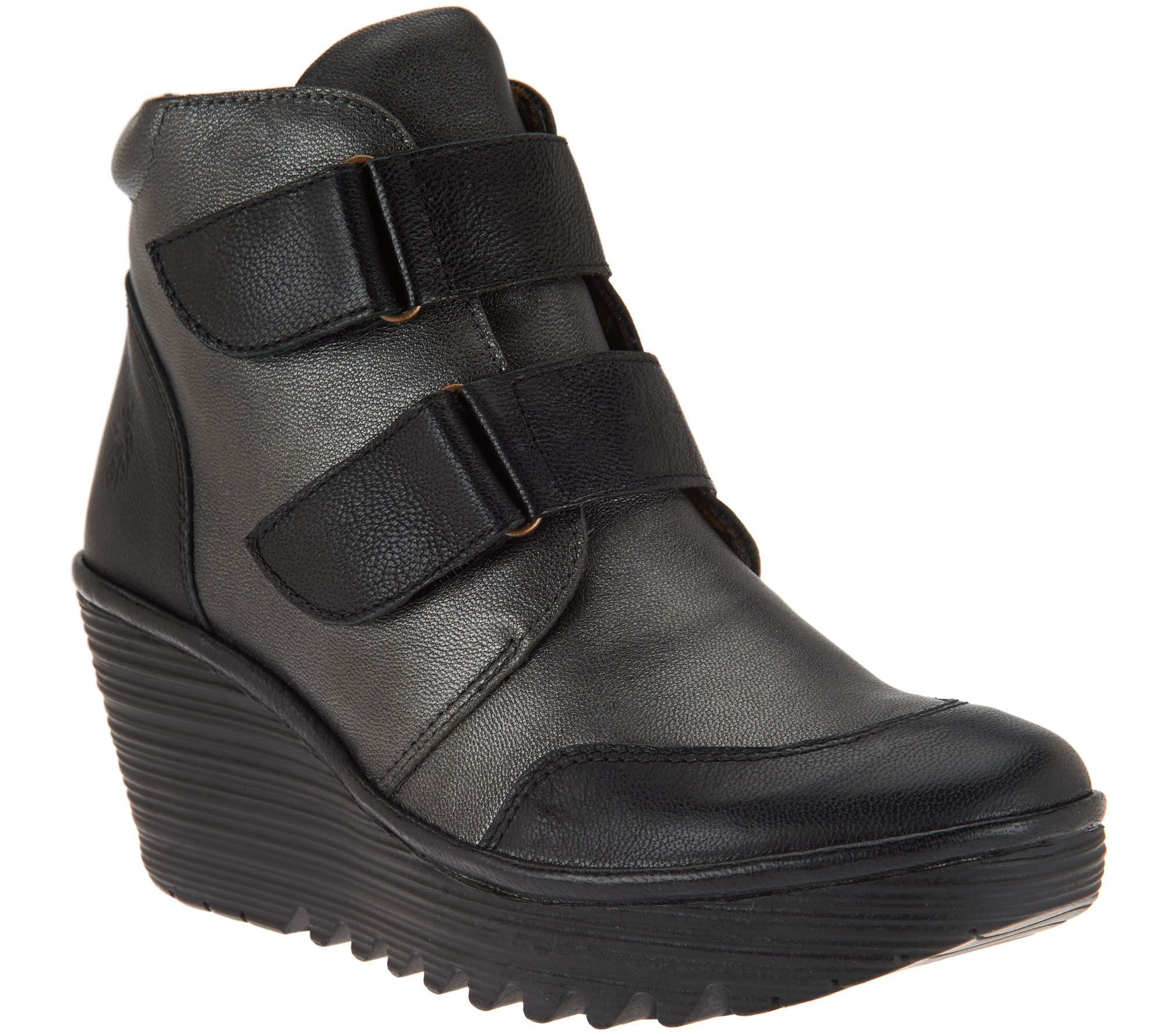 fly leather wedge boots yugo page 1 qvc