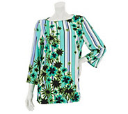 As Is Bob Mackies Scoop Neck Floral & Stripe Printed Top w/Stitch - A285900