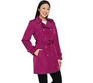 Joan Rivers Double Breasted Water Resistant Trench Coat with Belt - A288700