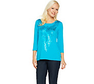 Bob Mackies 3/4 Sleeve Matte Sequin Front Knit Top - A290700