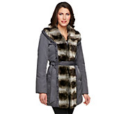 As Is Dennis Basso Water Resistant Coat w/Faux Chinchilla Fur - A291400