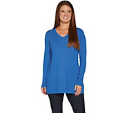 Belle by Kim Gravel Fit and Flare V-Neck Tunic Sweater - A297600