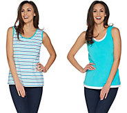 Denim & Co. Set of 2 Stripe & Solid Knit Tank Tops - A303100