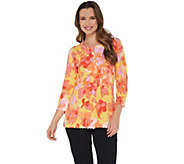 Isaac Mizrahi Live! Floral Printed Cardigan with Scallop Details - A305200