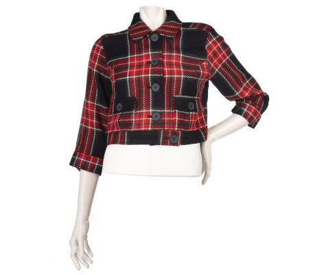 Motto Plaid Button Front Cropped Bomber Jacket