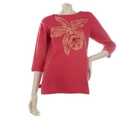 Bob Mackie's 3/4 Sleeve Orchid T-shirt