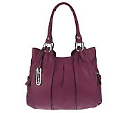 B. Makowsky Leather Tote with Pleating Detail and Logo Hardware - A215001