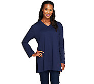 Denim & Co. Essentials Long Sleeve Oversized V-neck T-shirt - A217501