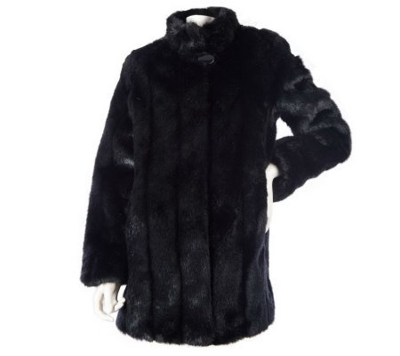 Dennis Basso Textured Faux Fur Swing Coat w/Lined Cuffs