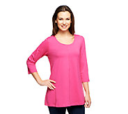Denim & Co. 3/4 Sleeve A-Line Shape Knit Tunic - A227201