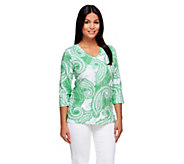 Denim & Co. Perfect Jersey Paisley Print V-neck Top - A254801