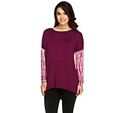 Lisa Rinna Collection Tie-Dyed Sleeve Hi-Low Hem Tunic Top - A255901