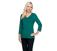 Liz Claiborne New York Essentials 3/4 Sleeve V-Neck Top - A256401