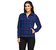 Isaac Mizrahi Live! Plaid Button Front Fleece Jacket - A258401