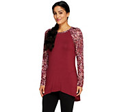 LOGO by Lori Goldstein Knit Top with Printed Sleeves and Pockets - A258801
