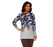 George Simonton Floral Printed Sweater Knit Top - A260601